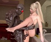 Big tits 3D blonde attacked by monster Boogeyman